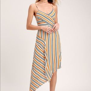 Lulu's Multi-Striped Asymmetrical Dress